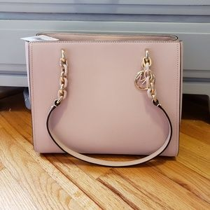 Michael Kors Large Pink Leather Tote Gold Accents